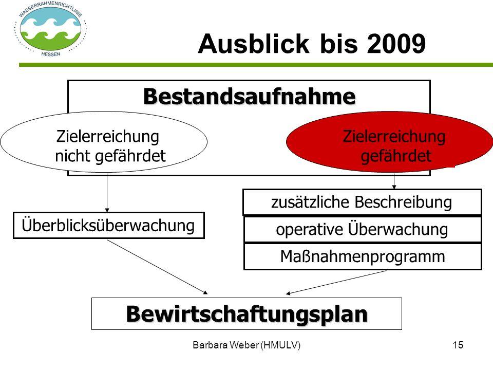 Barbara Weber (HMULV)15 Ausblick bis 2009 Bestandsaufnahme Zielerreichung gefährdet Überblicksüberwachung Bewirtschaftungsplan operative Überwachung M