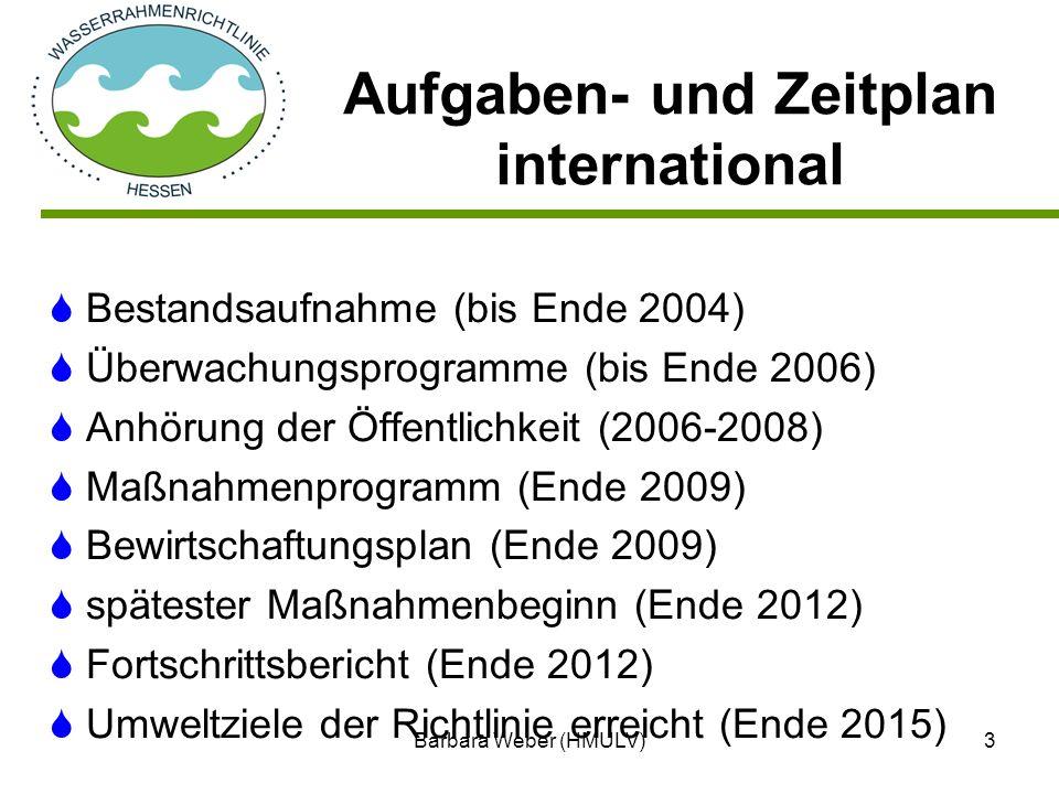 Barbara Weber (HMULV)3 Bestandsaufnahme (bis Ende 2004) Überwachungsprogramme (bis Ende 2006) Anhörung der Öffentlichkeit (2006-2008) Maßnahmenprogram