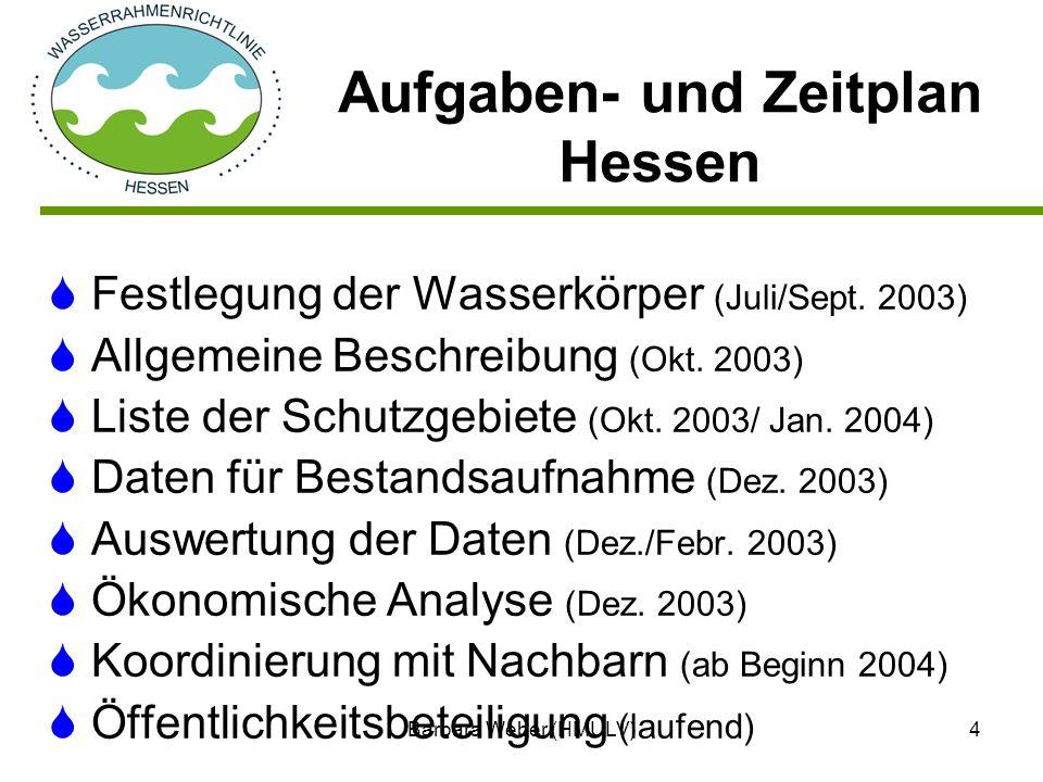 Barbara Weber (HMULV)4 Festlegung der Wasserkörper (Juli/Sept. 2003) Allgemeine Beschreibung (Okt. 2003) Liste der Schutzgebiete (Okt. 2003/ Jan. 2004
