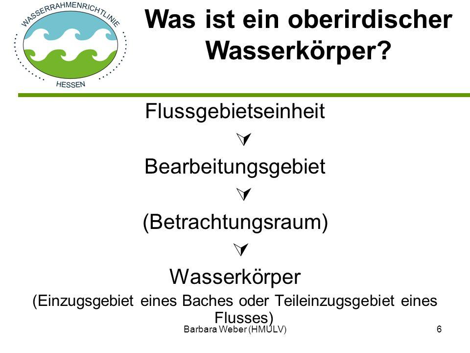 Barbara Weber (HMULV)7 Einteilung aller Gewässer in Kategorien: Flüsse, Seen, Übergangs- und Küstengewässer Zuordnung zu einer Ökoregion Verschneiden mit den Gewässerlandschaften Zuordnung der Gewässertypen ggf.