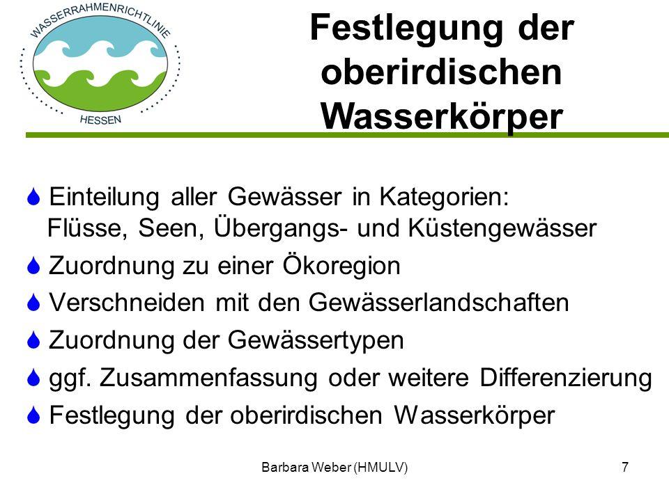 Barbara Weber (HMULV)7 Einteilung aller Gewässer in Kategorien: Flüsse, Seen, Übergangs- und Küstengewässer Zuordnung zu einer Ökoregion Verschneiden