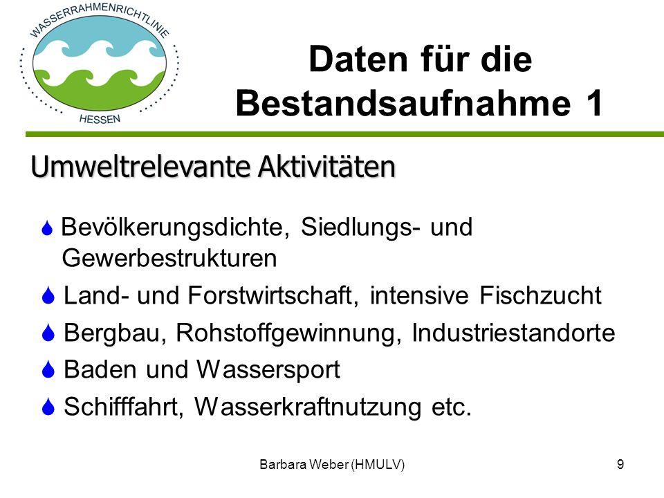 Barbara Weber (HMULV)9 Bevölkerungsdichte, Siedlungs- und Gewerbestrukturen Land- und Forstwirtschaft, intensive Fischzucht Bergbau, Rohstoffgewinnung