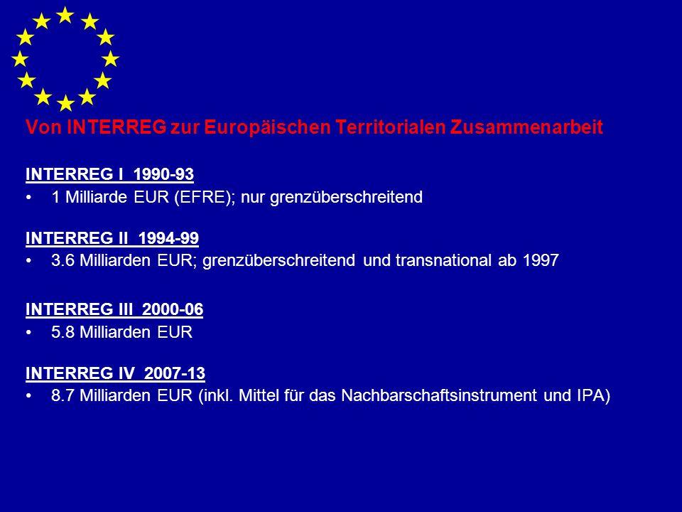 Von INTERREG zur Europäischen Territorialen Zusammenarbeit INTERREG I 1990-93 1 Milliarde EUR (EFRE); nur grenzüberschreitend INTERREG II 1994-99 3.6 Milliarden EUR; grenzüberschreitend und transnational ab 1997 INTERREG III 2000-06 5.8 Milliarden EUR INTERREG IV 2007-13 8.7 Milliarden EUR (inkl.