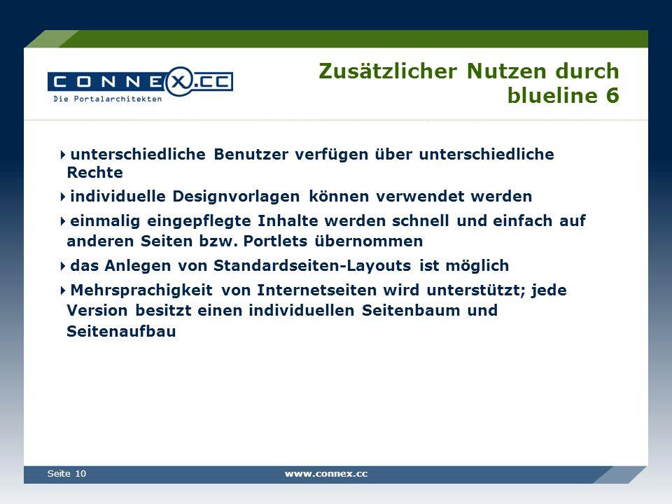 www.connex.ccSeite 10 Zusätzlicher Nutzen durch blueline 6 unterschiedliche Benutzer verfügen über unterschiedliche Rechte individuelle Designvorlagen