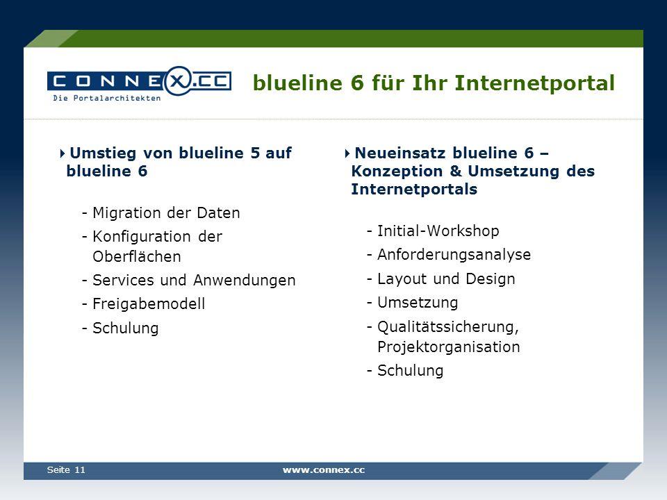 www.connex.ccSeite 11 blueline 6 für Ihr Internetportal Umstieg von blueline 5 auf blueline 6 -Migration der Daten -Konfiguration der Oberflächen -Ser