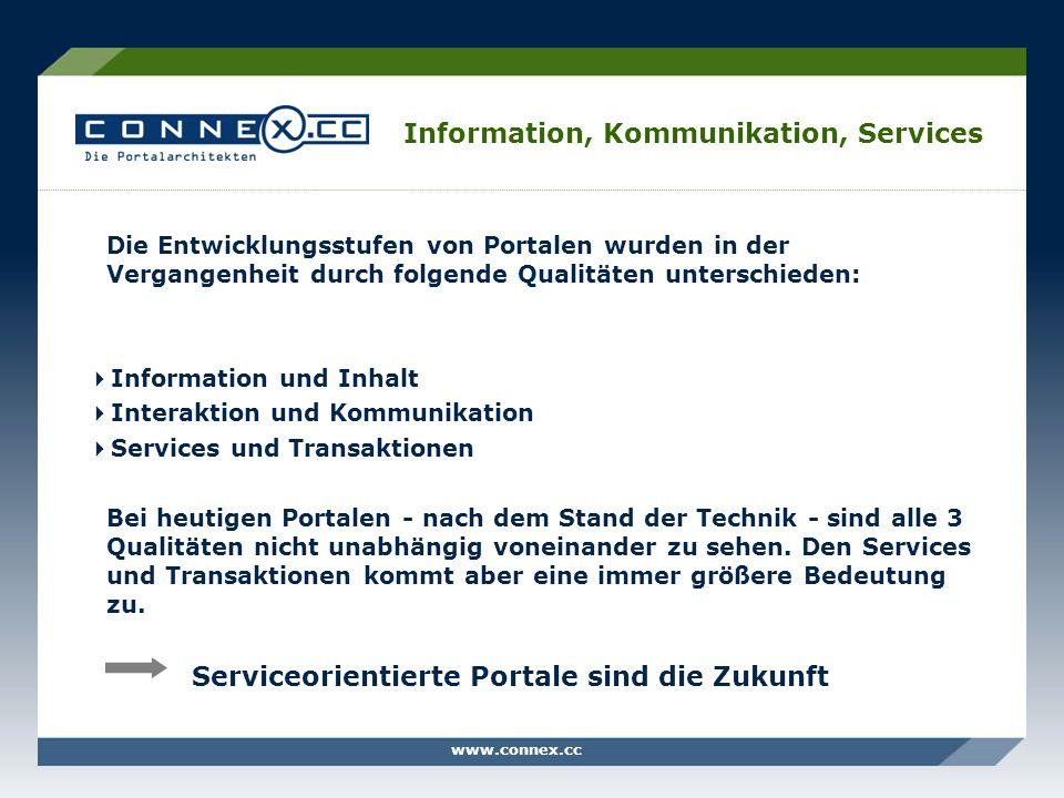 www.connex.cc Information, Kommunikation, Services Die Entwicklungsstufen von Portalen wurden in der Vergangenheit durch folgende Qualitäten unterschi