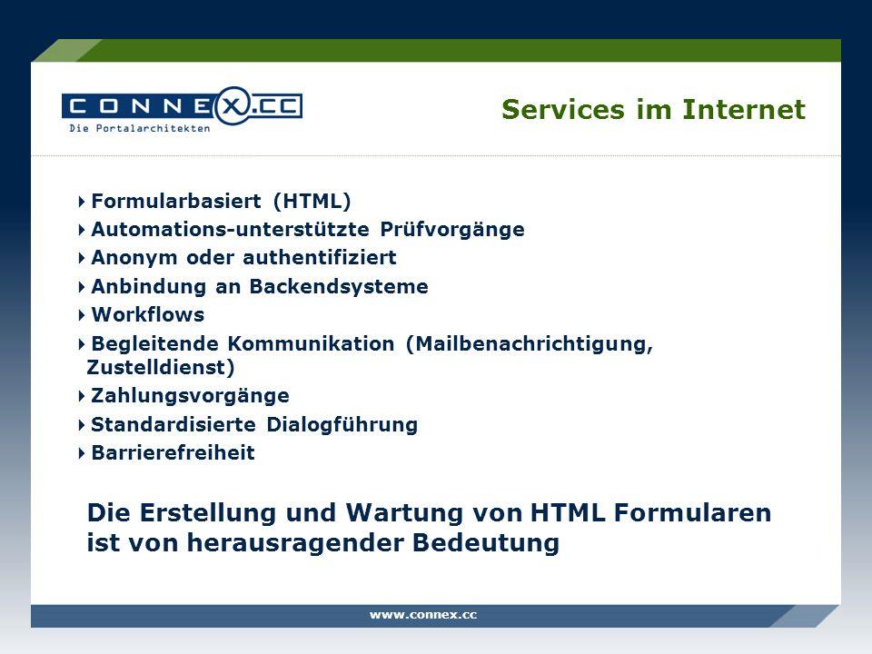 www.connex.cc Services im Internet Formularbasiert (HTML) Automations-unterstützte Prüfvorgänge Anonym oder authentifiziert Anbindung an Backendsystem