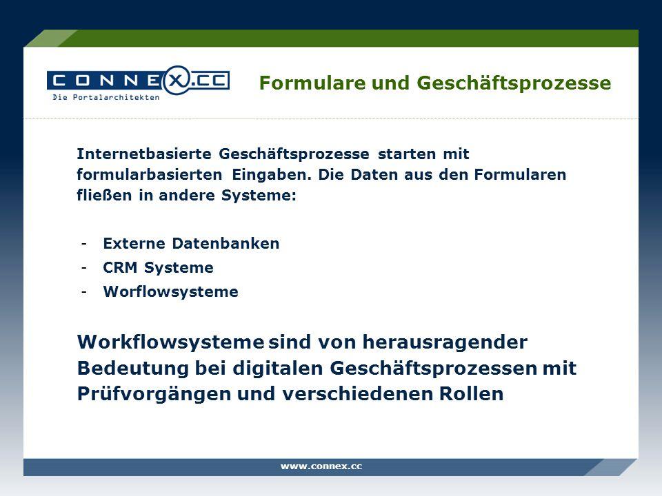 www.connex.cc Formulare und Geschäftsprozesse Internetbasierte Geschäftsprozesse starten mit formularbasierten Eingaben. Die Daten aus den Formularen