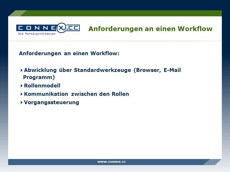 www.connex.cc Anforderungen an einen Workflow Anforderungen an einen Workflow: Abwicklung über Standardwerkzeuge (Browser, E-Mail Programm) Rollenmode