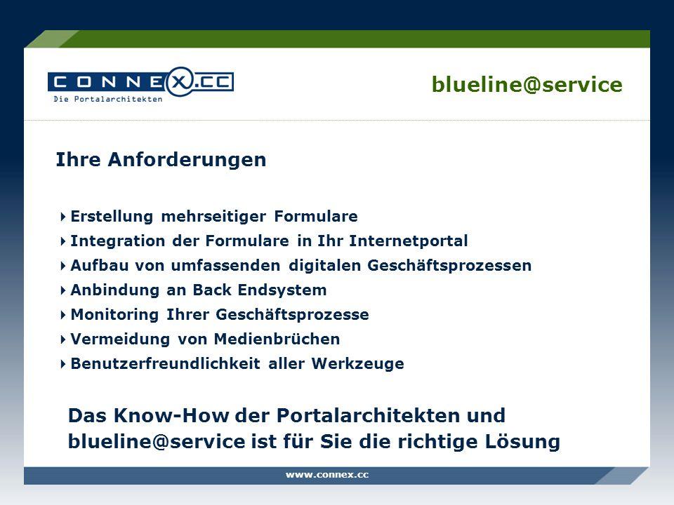 www.connex.cc blueline@service Ihre Anforderungen Erstellung mehrseitiger Formulare Integration der Formulare in Ihr Internetportal Aufbau von umfasse