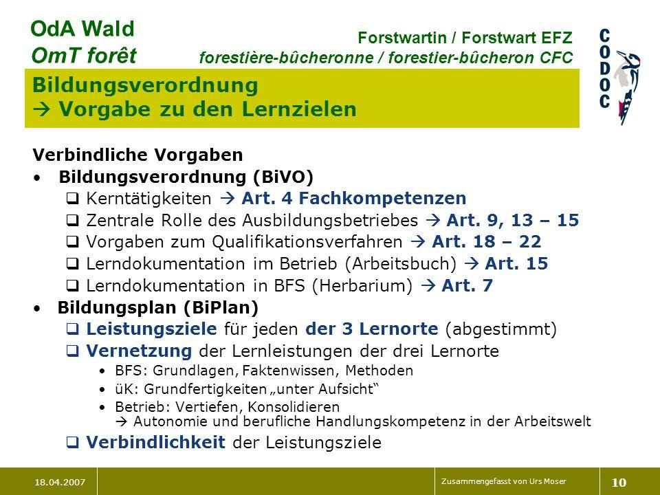 18.04.2007 Zusammengefasst von Urs Moser 10 OdA Wald OmT forêt Forstwartin / Forstwart EFZ forestière-bûcheronne / forestier-bûcheron CFC Bildungsvero
