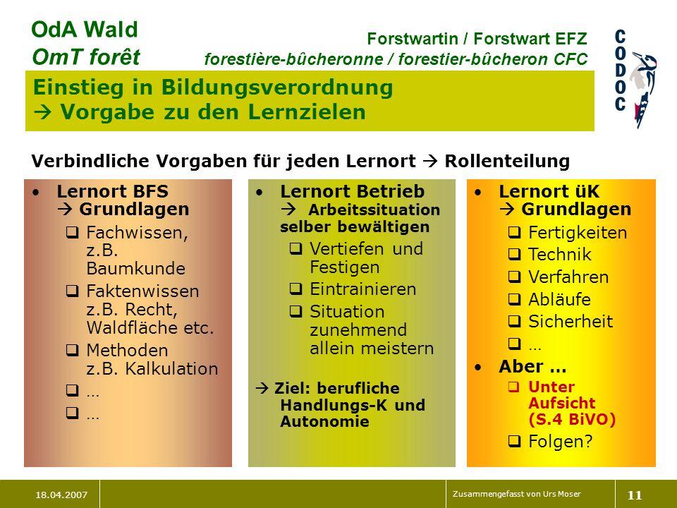 18.04.2007 Zusammengefasst von Urs Moser 11 OdA Wald OmT forêt Forstwartin / Forstwart EFZ forestière-bûcheronne / forestier-bûcheron CFC Einstieg in