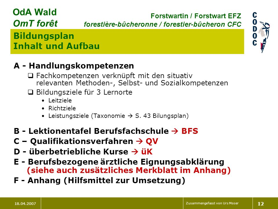 18.04.2007 Zusammengefasst von Urs Moser 12 OdA Wald OmT forêt Forstwartin / Forstwart EFZ forestière-bûcheronne / forestier-bûcheron CFC Bildungsplan