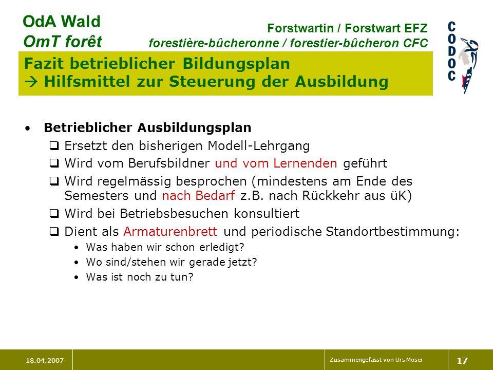 18.04.2007 Zusammengefasst von Urs Moser 17 OdA Wald OmT forêt Forstwartin / Forstwart EFZ forestière-bûcheronne / forestier-bûcheron CFC Fazit betrie
