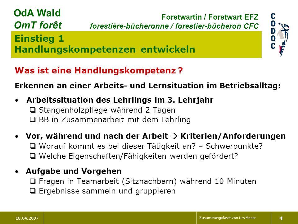 18.04.2007 Zusammengefasst von Urs Moser 4 OdA Wald OmT forêt Forstwartin / Forstwart EFZ forestière-bûcheronne / forestier-bûcheron CFC Einstieg 1 Handlungskompetenzen entwickeln Was ist eine Handlungskompetenz .