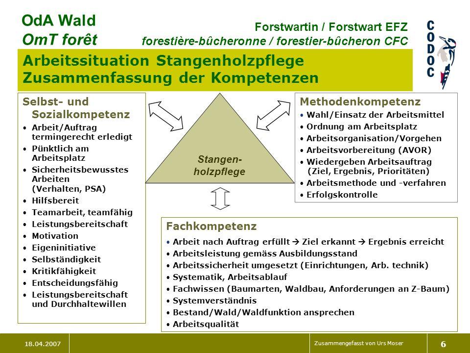 18.04.2007 Zusammengefasst von Urs Moser 6 OdA Wald OmT forêt Forstwartin / Forstwart EFZ forestière-bûcheronne / forestier-bûcheron CFC Stangen- holz