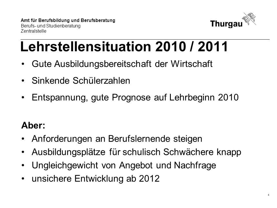 Amt für Berufsbildung und Berufsberatung Berufs- und Studienberatung Zentralstelle 4 Lehrstellensituation 2010 / 2011 Gute Ausbildungsbereitschaft der