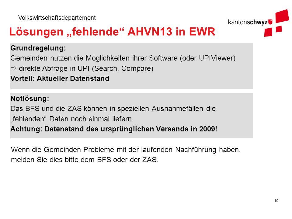 10 Volkswirtschaftsdepartement Lösungen fehlende AHVN13 in EWR Notlösung: Das BFS und die ZAS können in speziellen Ausnahmefällen die fehlenden Daten