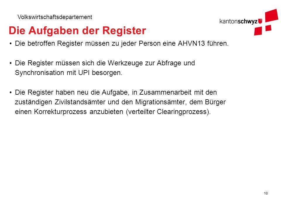 18 Volkswirtschaftsdepartement Die Aufgaben der Register Die betroffen Register müssen zu jeder Person eine AHVN13 führen. Die Register müssen sich di