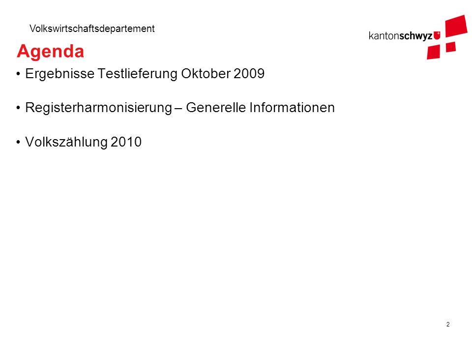 23 Volkswirtschaftsdepartement Von der Harmonisierung zur Volkszählung Die gesetzlichen Grundlagen zur Erinnerung (1/2): Die Harmonisierung muss am 15.01.2010 abgeschlossen sein, einzige Ausnahme ist die EWID-Zuweisung (31.12.2010).