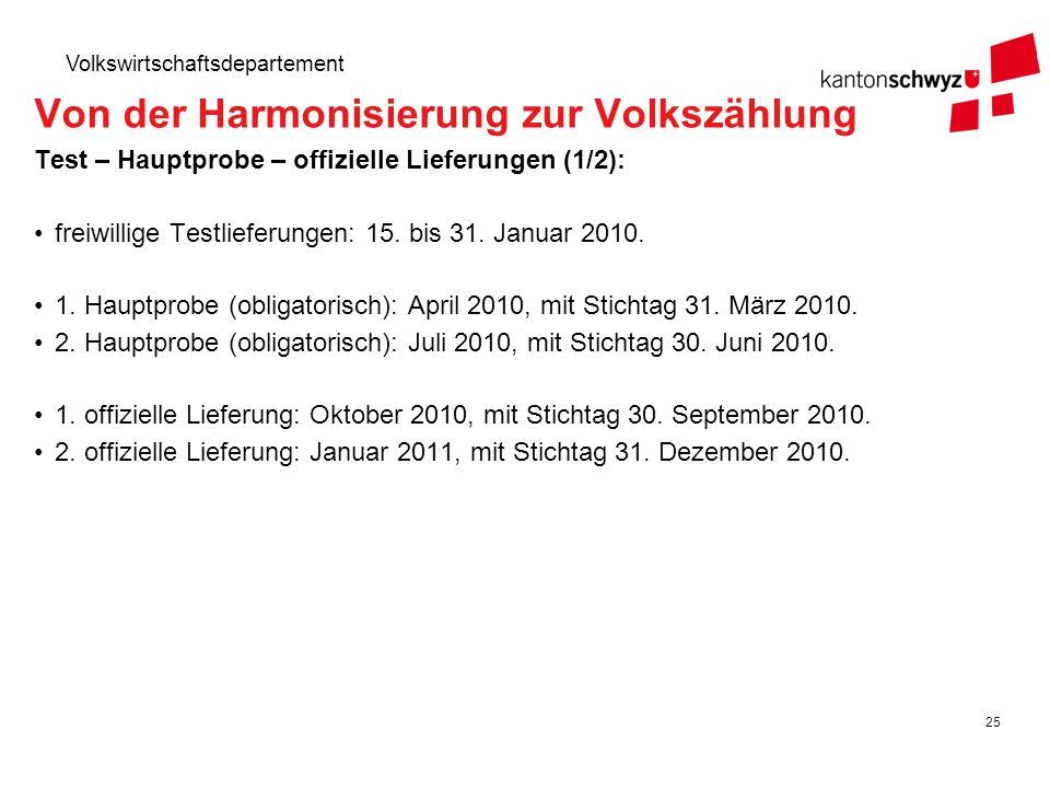 25 Volkswirtschaftsdepartement Test – Hauptprobe – offizielle Lieferungen (1/2): freiwillige Testlieferungen: 15. bis 31. Januar 2010. 1. Hauptprobe (