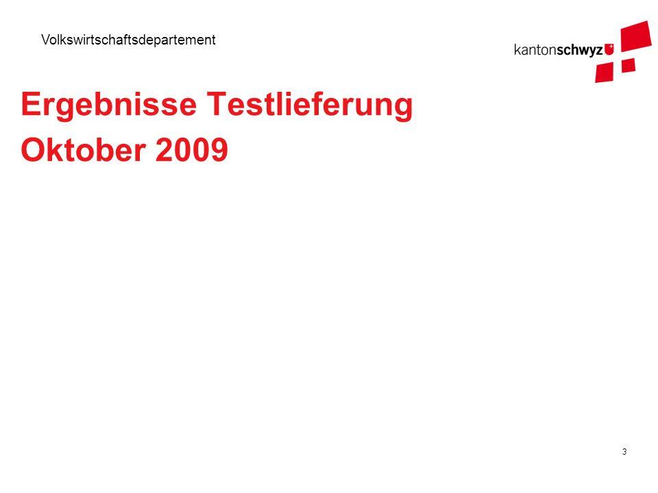 3 Volkswirtschaftsdepartement Ergebnisse Testlieferung Oktober 2009