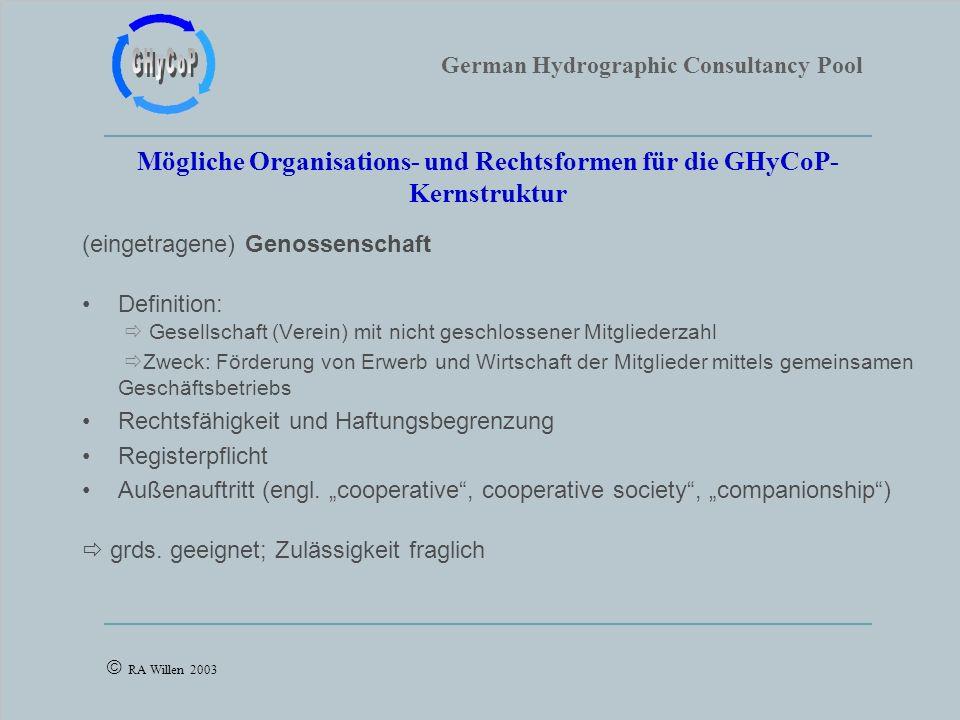 German Hydrographic Consultancy Pool RA Willen 2003 Mögliche Organisations- und Rechtsformen für die GHyCoP- Kernstruktur (eingetragene) Genossenschaf