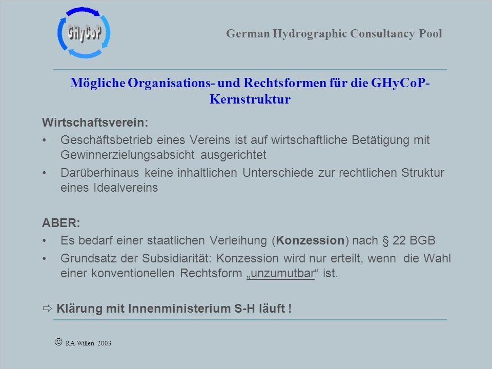 German Hydrographic Consultancy Pool RA Willen 2003 Mögliche Organisations- und Rechtsformen für die GHyCoP- Kernstruktur Wirtschaftsverein: Geschäfts