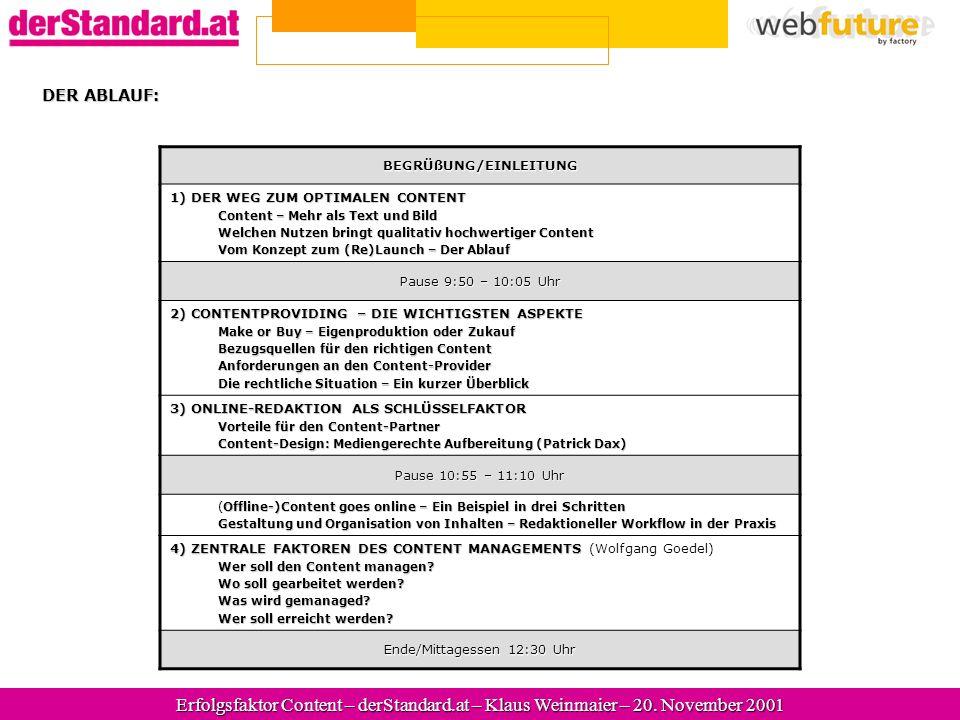 Erfolgsfaktor Content – derStandard.at – Wolfgang Goedel – 20.