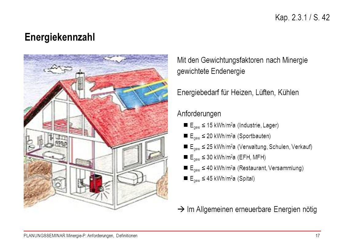 PLANUNGSSEMINAR Minergie-P: Anforderungen, Definitionen17 Energiekennzahl Mit den Gewichtungsfaktoren nach Minergie gewichtete Endenergie Energiebedar