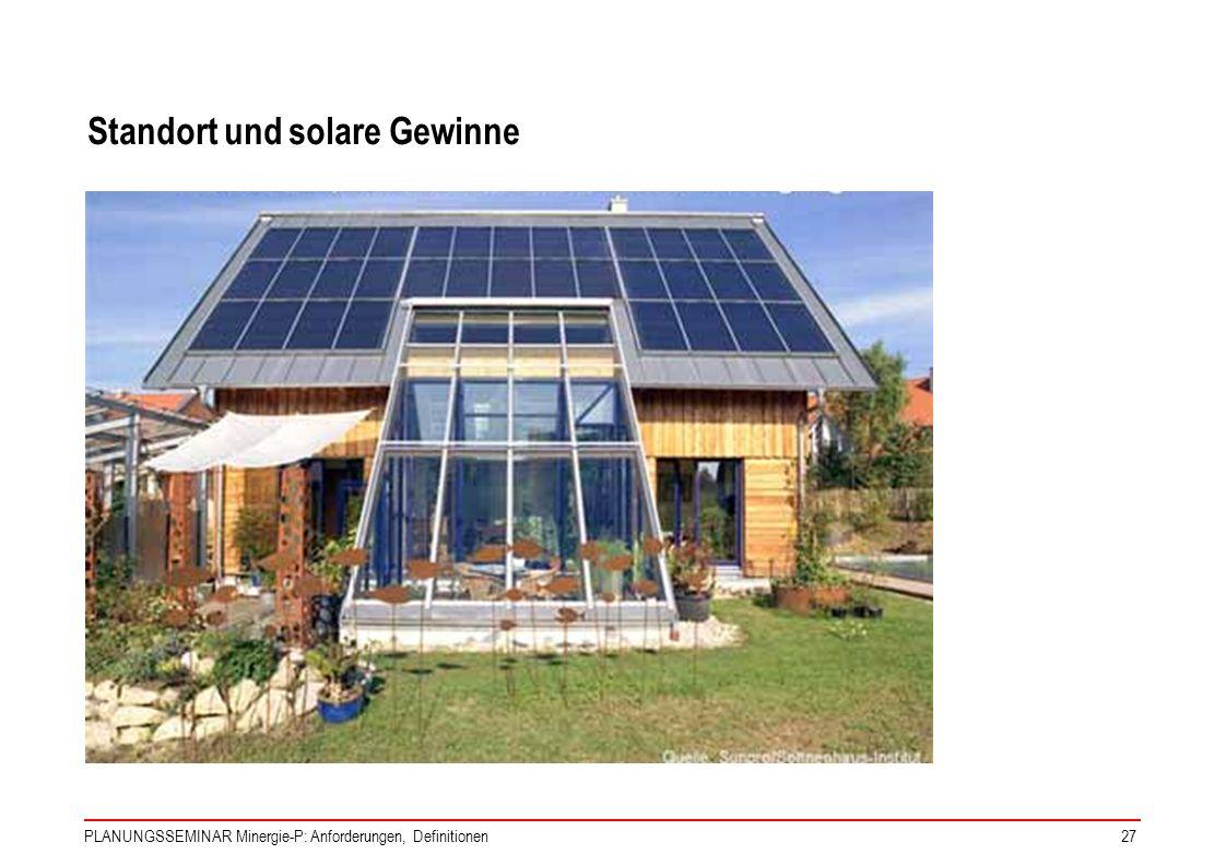 PLANUNGSSEMINAR Minergie-P: Anforderungen, Definitionen27 Standort und solare Gewinne