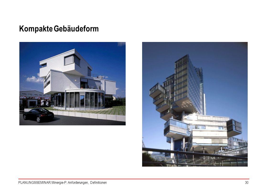 PLANUNGSSEMINAR Minergie-P: Anforderungen, Definitionen30 Kompakte Gebäudeform