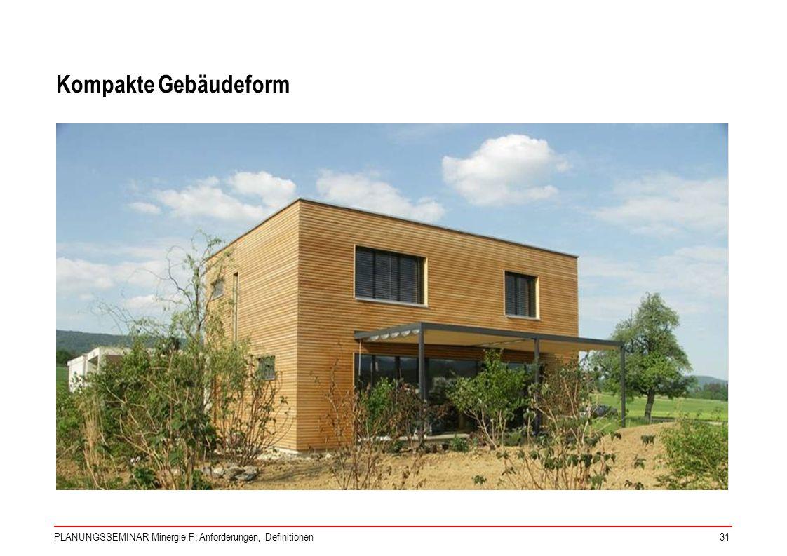 PLANUNGSSEMINAR Minergie-P: Anforderungen, Definitionen31 Kompakte Gebäudeform Durch Bild oder Grafik ersetzen (Grösse und Position beibehalten)