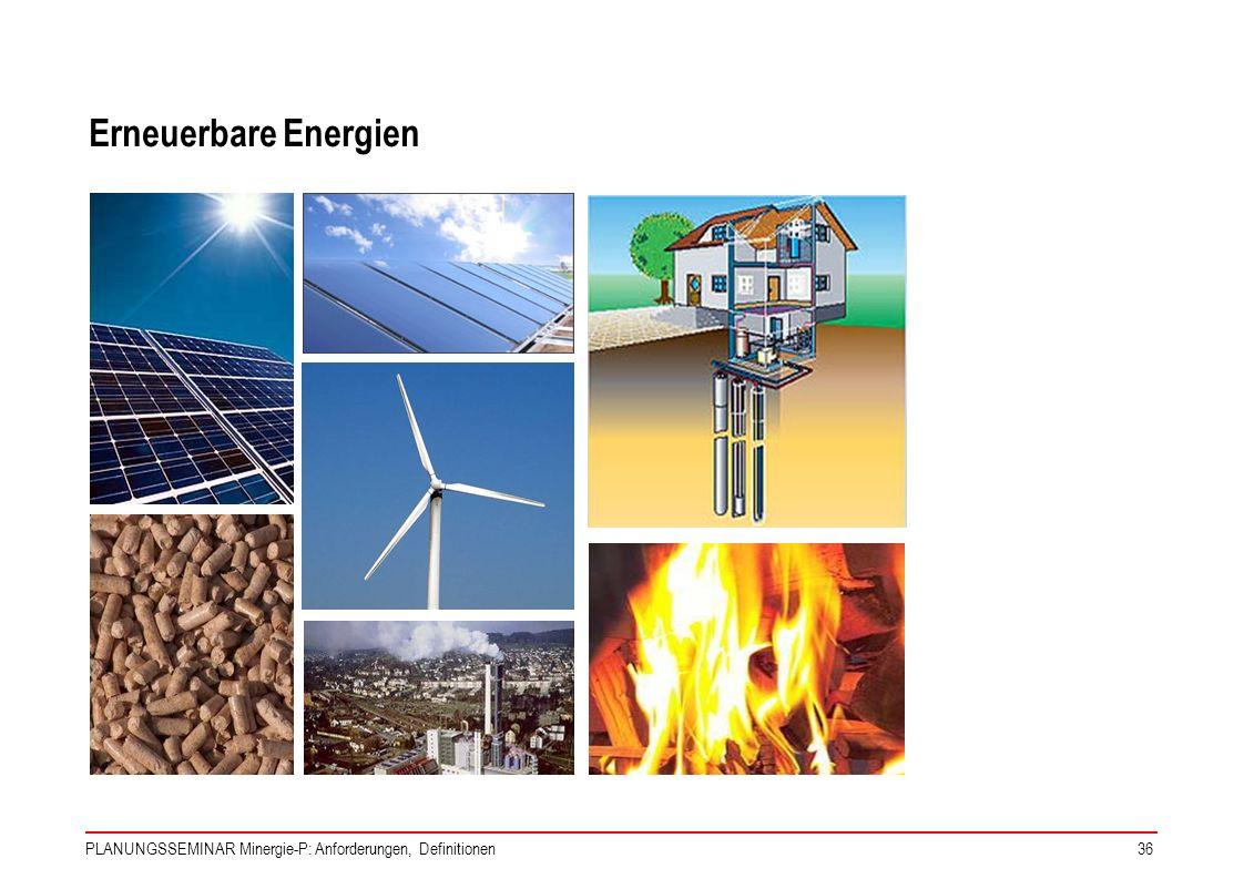 PLANUNGSSEMINAR Minergie-P: Anforderungen, Definitionen36 Erneuerbare Energien