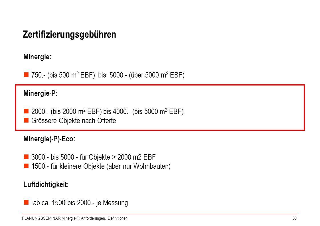 PLANUNGSSEMINAR Minergie-P: Anforderungen, Definitionen38 Zertifizierungsgebühren Minergie: 750.- (bis 500 m 2 EBF) bis 5000.- (über 5000 m 2 EBF) Min