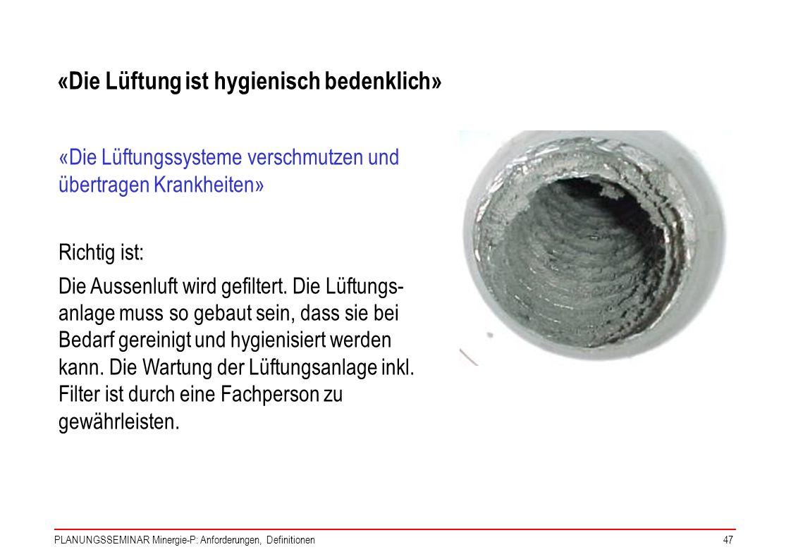 PLANUNGSSEMINAR Minergie-P: Anforderungen, Definitionen47 «Die Lüftungssysteme verschmutzen und übertragen Krankheiten» Richtig ist: Die Aussenluft wi