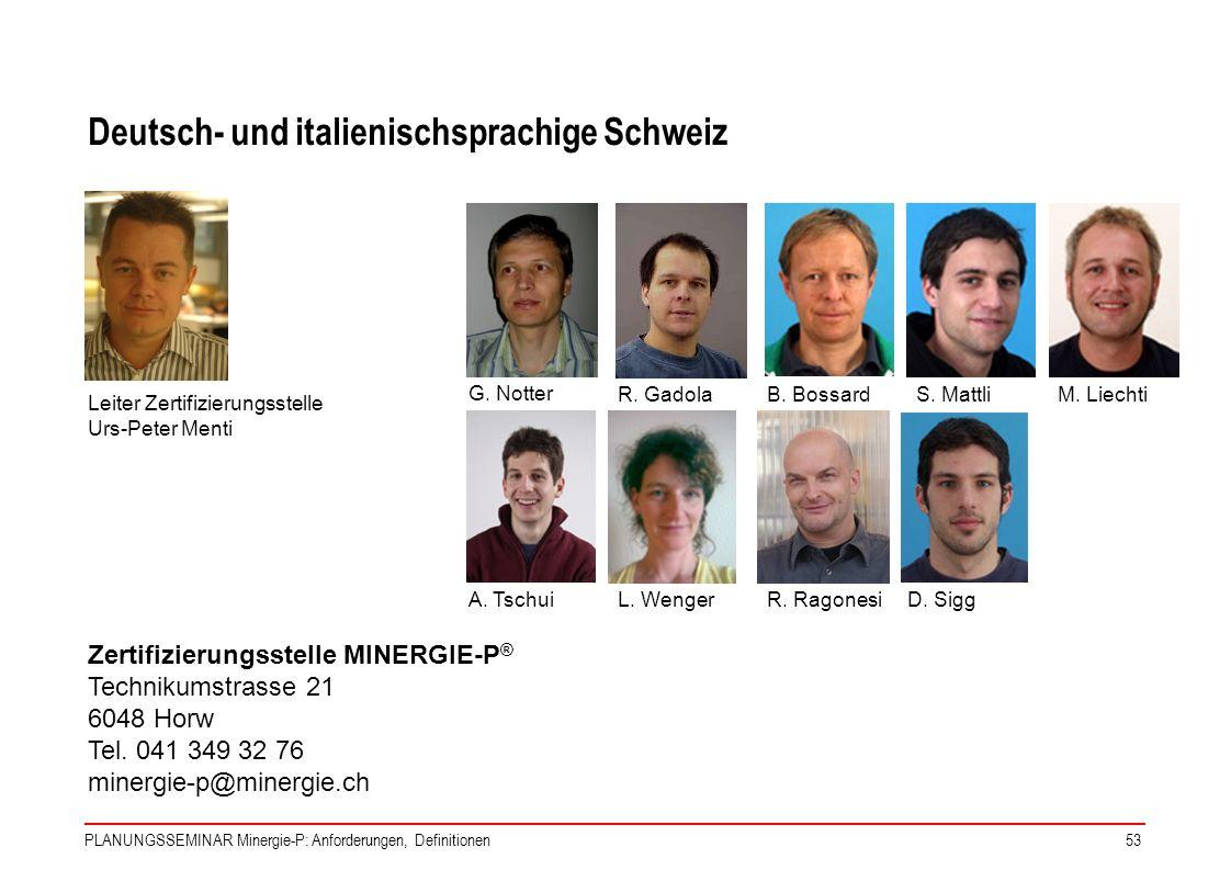 PLANUNGSSEMINAR Minergie-P: Anforderungen, Definitionen53 Deutsch- und italienischsprachige Schweiz Leiter Zertifizierungsstelle Urs-Peter Menti Zerti