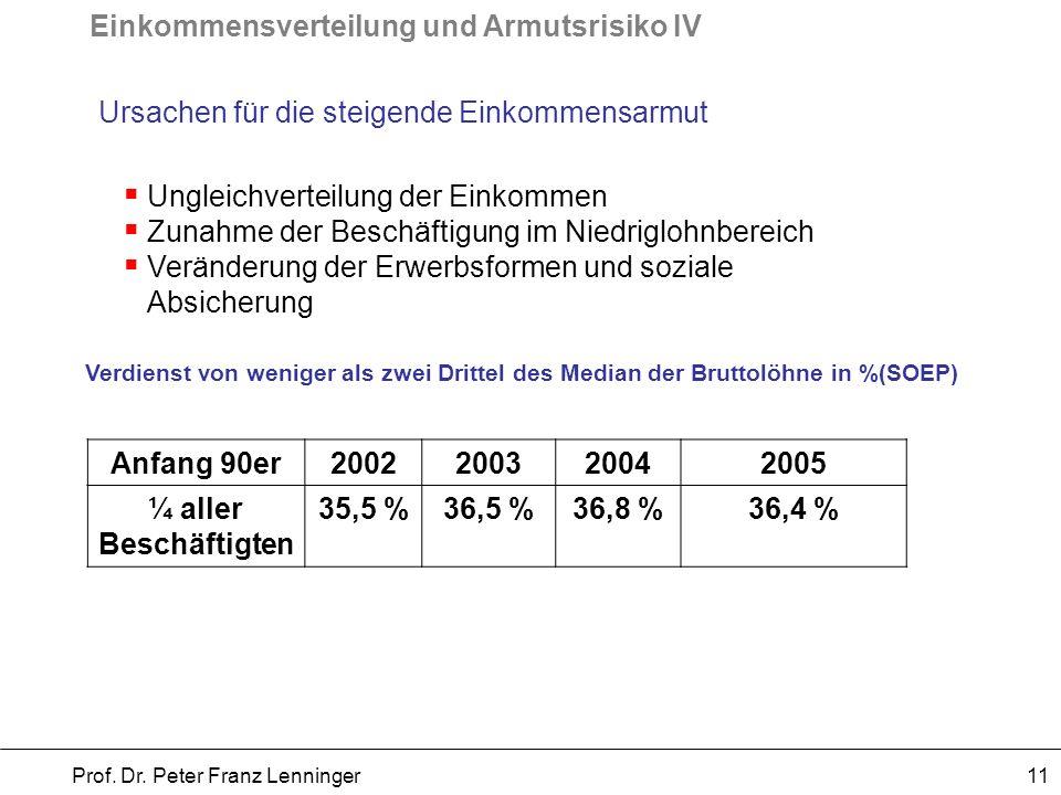 Einkommensverteilung und Armutsrisiko IV Prof.Dr.