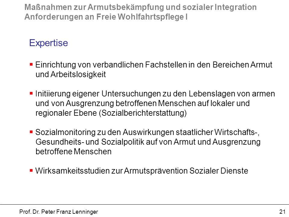 Maßnahmen zur Armutsbekämpfung und sozialer Integration Anforderungen an Freie Wohlfahrtspflege I Prof. Dr. Peter Franz Lenninger 21 Expertise Einrich