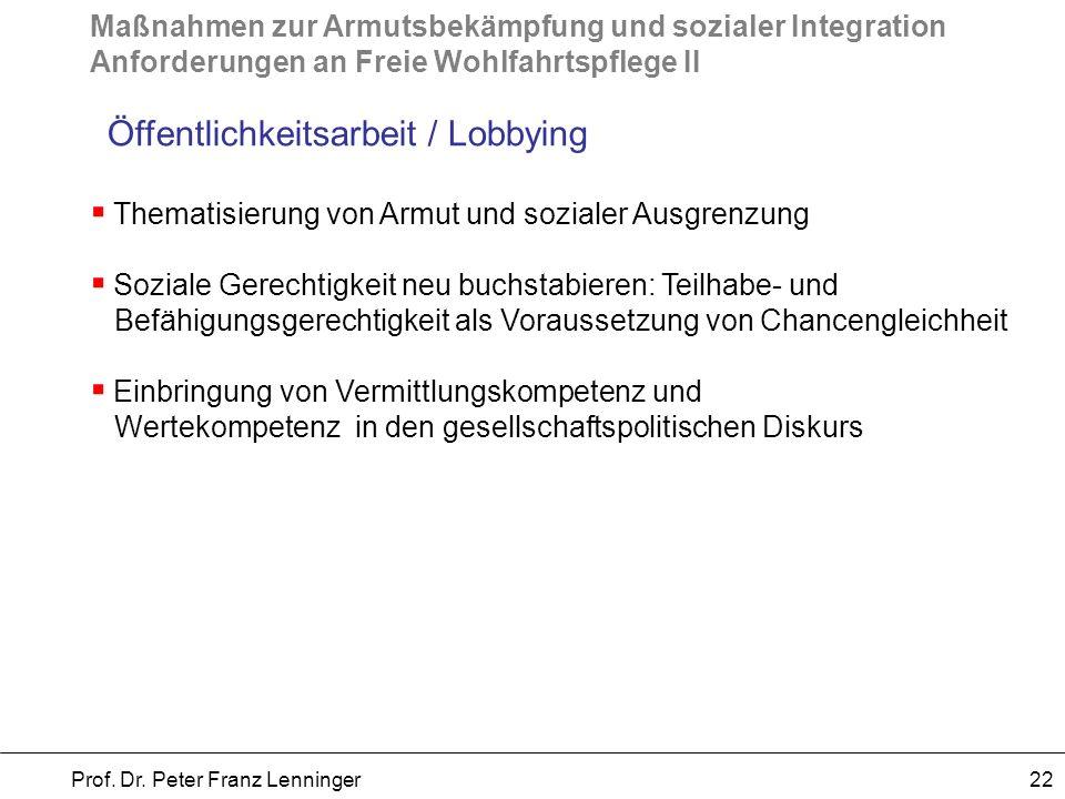 Maßnahmen zur Armutsbekämpfung und sozialer Integration Anforderungen an Freie Wohlfahrtspflege II Prof. Dr. Peter Franz Lenninger 22 Öffentlichkeitsa