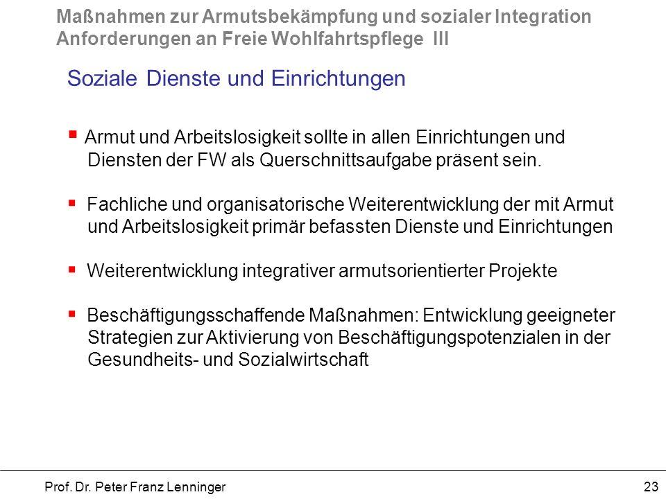 Maßnahmen zur Armutsbekämpfung und sozialer Integration Anforderungen an Freie Wohlfahrtspflege III Prof. Dr. Peter Franz Lenninger 23 Soziale Dienste