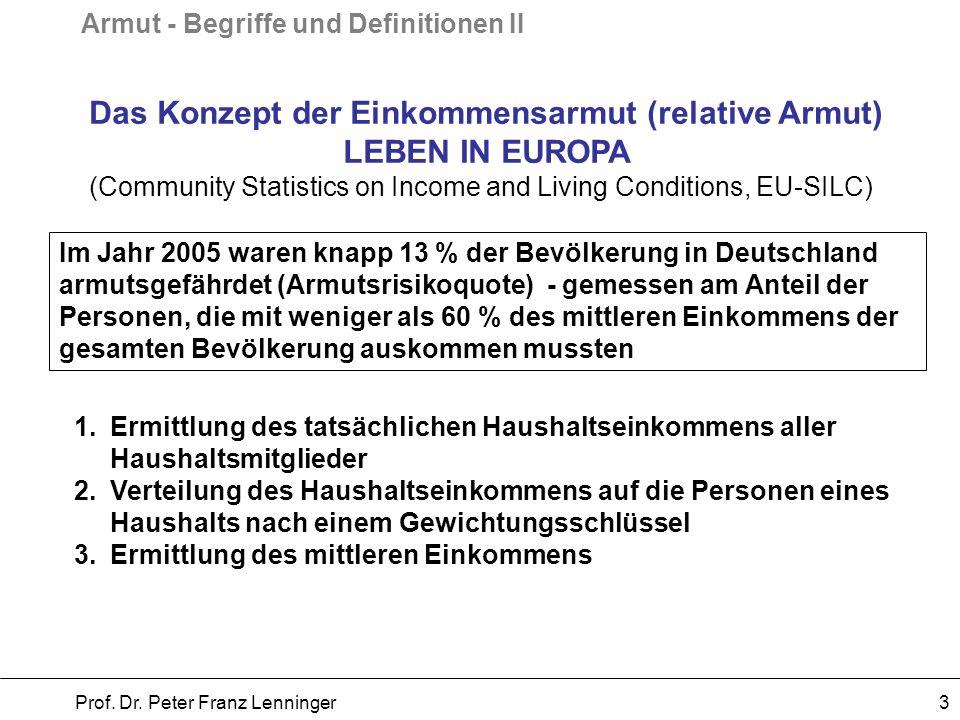 Armut - Begriffe und Definitionen II Prof. Dr. Peter Franz Lenninger 3 Das Konzept der Einkommensarmut (relative Armut) LEBEN IN EUROPA (Community Sta