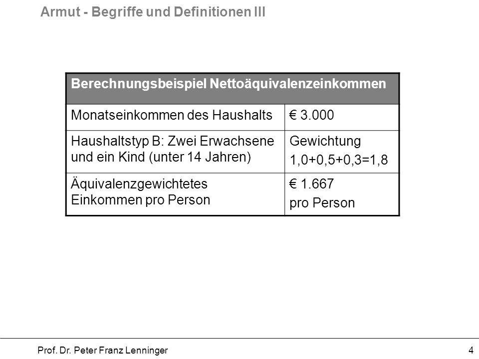 Armut - Begriffe und Definitionen III Prof. Dr. Peter Franz Lenninger 4 Berechnungsbeispiel Nettoäquivalenzeinkommen Monatseinkommen des Haushalts 3.0