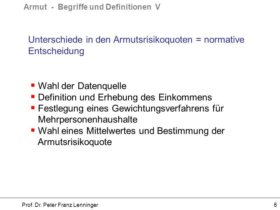 Armut - Begriffe und Definitionen VI Prof.Dr.