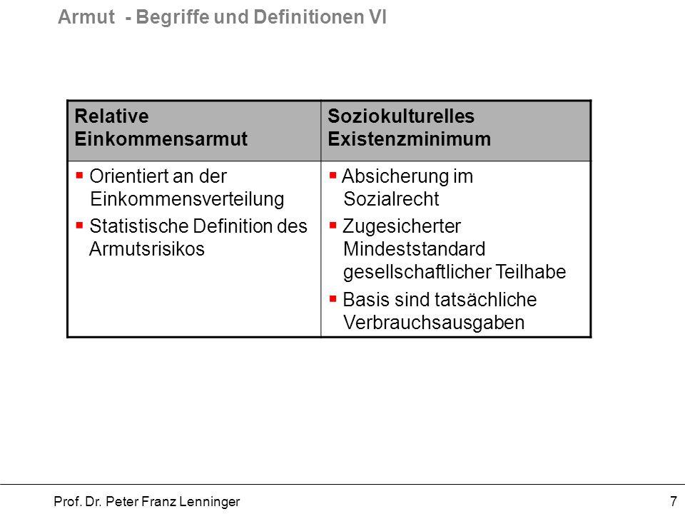 Armut - Begriffe und Definitionen VI Prof. Dr. Peter Franz Lenninger 7 Relative Einkommensarmut Soziokulturelles Existenzminimum Orientiert an der Ein