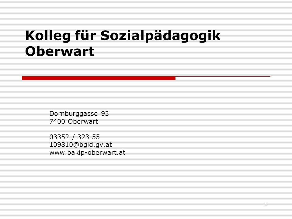 1 Kolleg für Sozialpädagogik Oberwart Dornburggasse 93 7400 Oberwart 03352 / 323 55 109810@bgld.gv.at www.bakip-oberwart.at