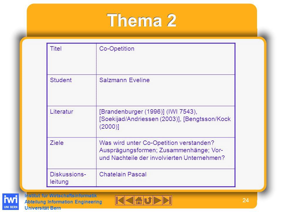 Institut für Wirtschaftsinformatik Abteilung Information Engineering Universität Bern 24 Thema 2 TitelCo-Opetition StudentSalzmann Eveline Literatur[Brandenburger (1996)] (IWI 7543), [Soekijad/Andriessen (2003)], [Bengtsson/Kock (2000)] ZieleWas wird unter Co-Opetition verstanden.