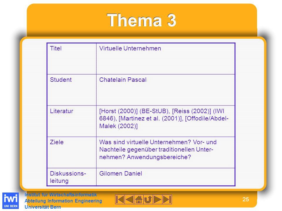 Institut für Wirtschaftsinformatik Abteilung Information Engineering Universität Bern 25 Thema 3 TitelVirtuelle Unternehmen StudentChatelain Pascal Literatur[Horst (2000)] (BE-StUB), [Reiss (2002)] (IWI 6846), [Martinez et al.
