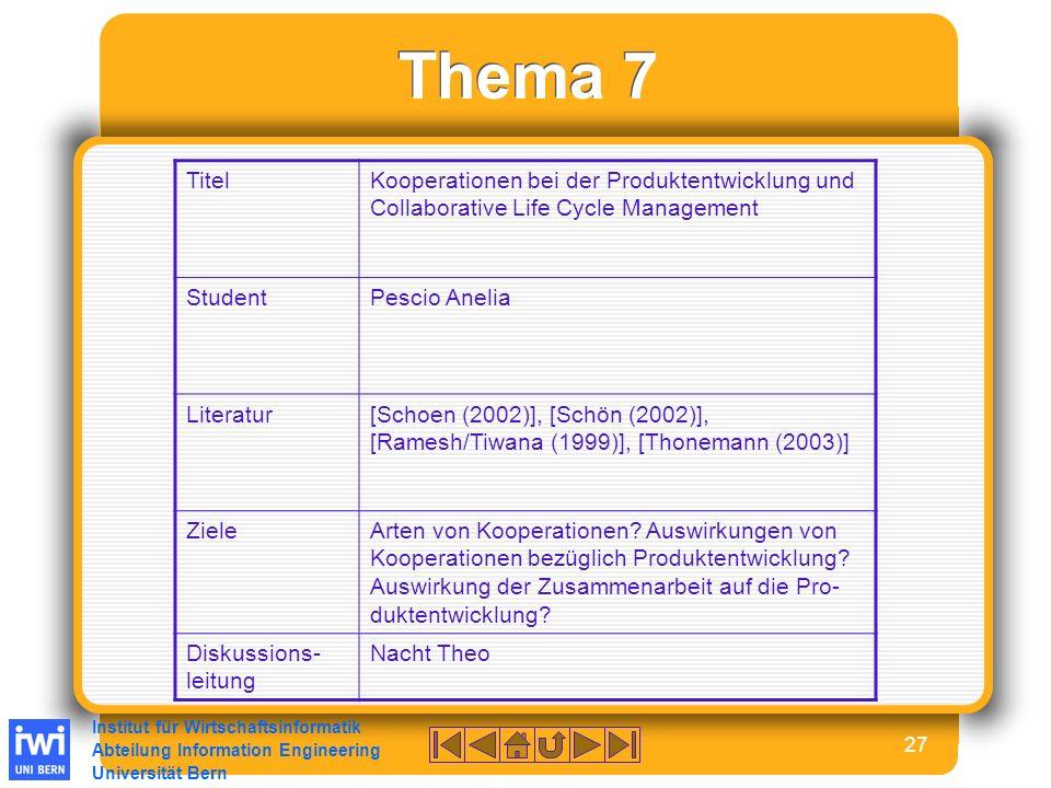 Institut für Wirtschaftsinformatik Abteilung Information Engineering Universität Bern 27 Thema 7 TitelKooperationen bei der Produktentwicklung und Collaborative Life Cycle Management StudentPescio Anelia Literatur[Schoen (2002)], [Schön (2002)], [Ramesh/Tiwana (1999)], [Thonemann (2003)] ZieleArten von Kooperationen.