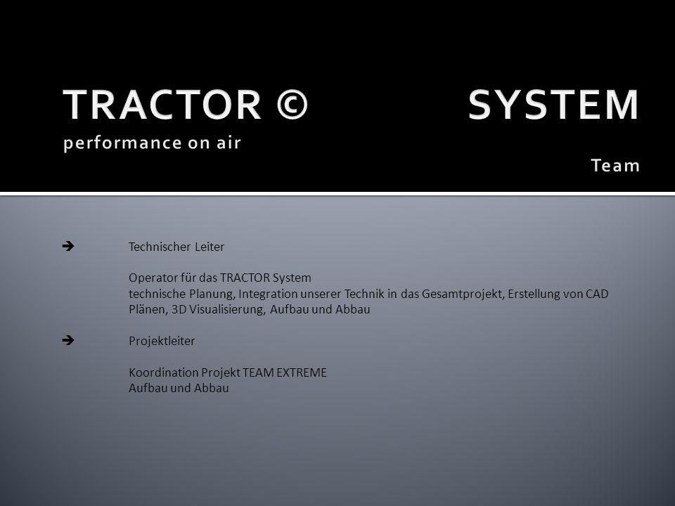 Technischer Leiter Operator für das TRACTOR System technische Planung, Integration unserer Technik in das Gesamtprojekt, Erstellung von CAD Plänen, 3D